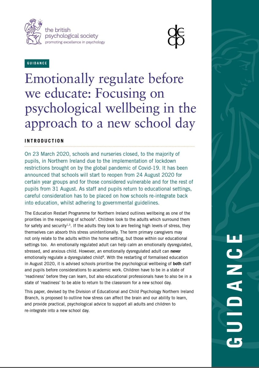"""I have written a @BPSOfficial guidance document on how we must """"Emotionally regulate before we educate: Focusing on psychological wellbeing in the approach to a new school day"""" - published today! Guidance document below : 👇 https://t.co/uClRM2K8Sd @DECPOfficial @PSIDOEP @NIBPS https://t.co/3DsoJ2JW72"""