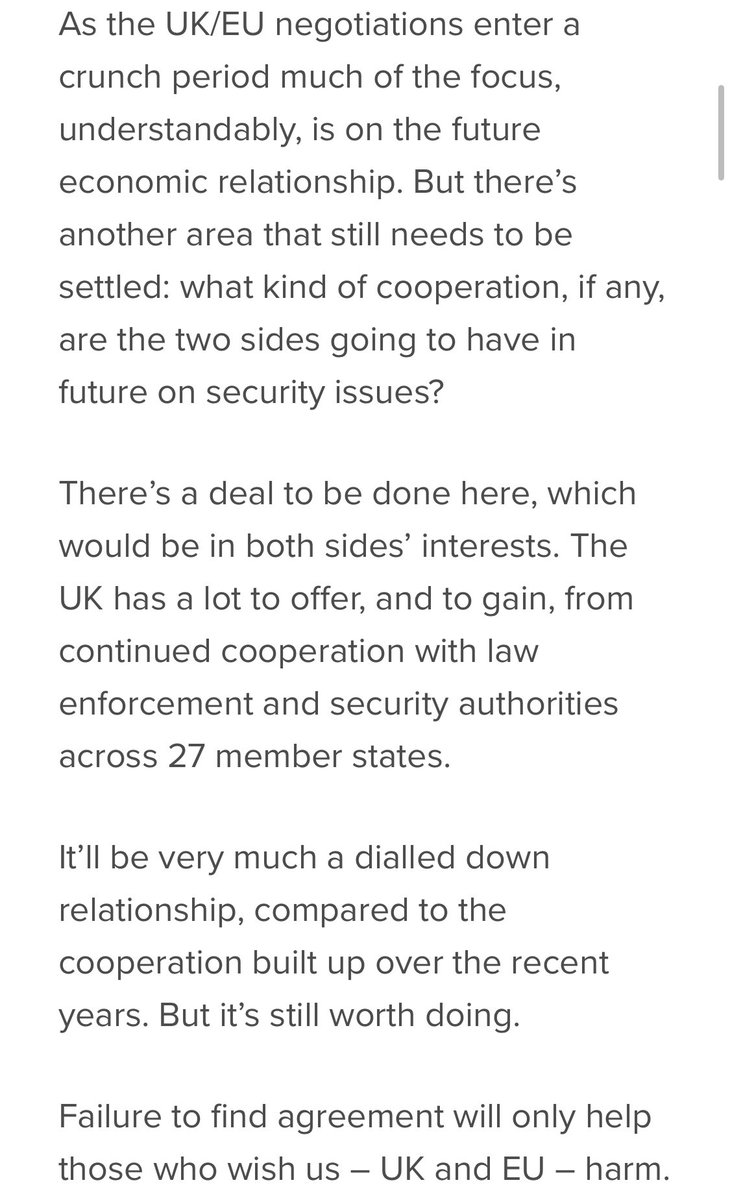 Important piece by former EU Commissioner @JulianBKing on why the U.K. and EU should agree to cooperate on security, and how this might be achieved https://t.co/xmNNdiAnue https://t.co/Hlq5BL6KLW