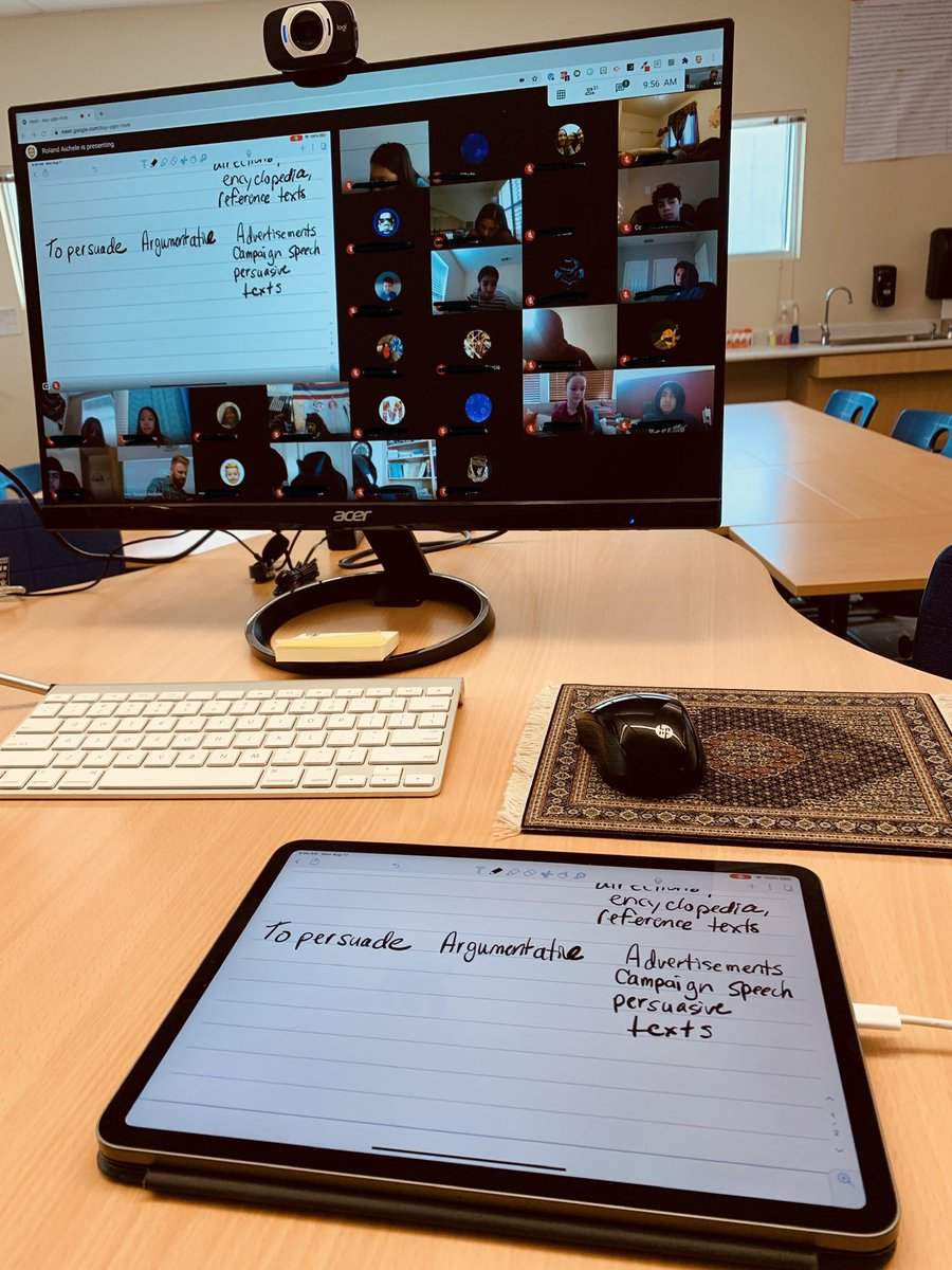 NEW GOOGLE MEET HACK/WORKFLOW! Join your Meet a second time from from iPad. Present screen from iPad. Use @NotabilityApp and Apple Pencil to do live writing and/or note taking. It worked great. #DistanceLearning #WestlakeCharter #LetsExplore https://t.co/CDivNBLUK9