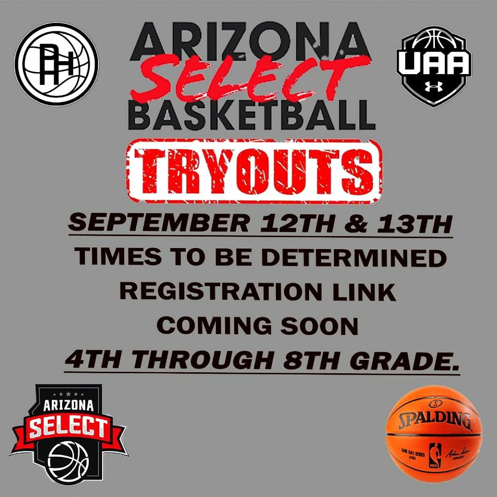 UPDATE: AZ SELECT Youth Basketball tryouts September 12th & 13th!! Registration link and times coming soon! 4th Grade - 8th Grade! Let's go! https://t.co/rVkHA2cqCB