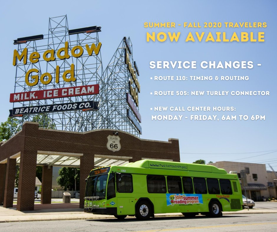 Tulsa Transit On Twitter Travelers Are Available Beginning Today For 25 Cents At Das Only Due To Covid 19 Operations Service Changes For August Affects Routes 110 505 And The Call Center Hours