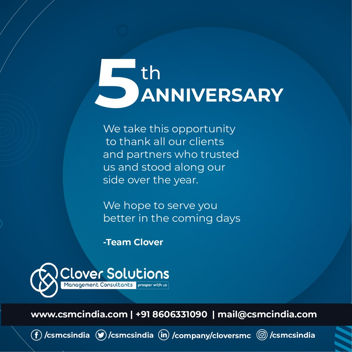 Hi,we turned 5 today! We express our gratitude towards our clients and partners who supported us all these years #CSMCIndia #CloverSolutions #ManagementConsultant #Business #Taxation #Finance #IncomeTax #GST #LabourLaw #Accountant #VirtualCFO #CompanyLaw #ERP #Designs #Promotions