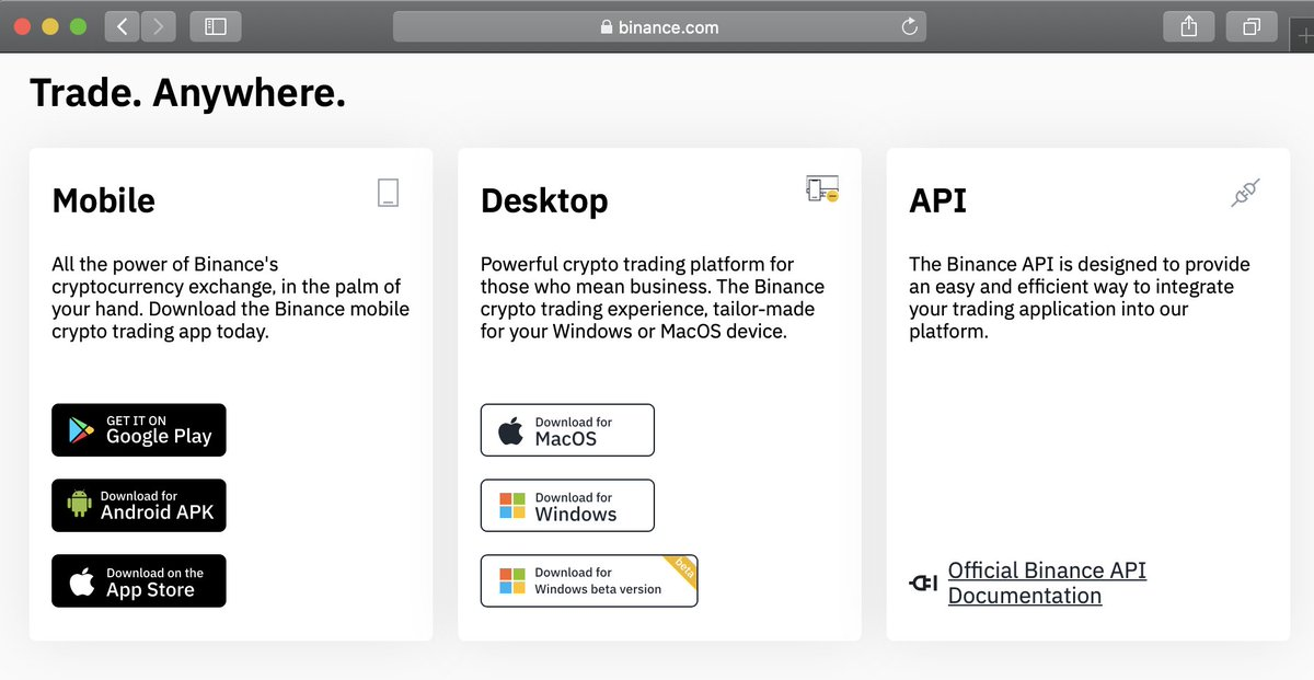Cz Binance On Twitter For Those Who Experienced Issue Using Binance On The Web There Is A Backup Solution Download The Binance Desktop App Https T Co Etpd2bfzok Home Page 2nd Fold Scroll Down A