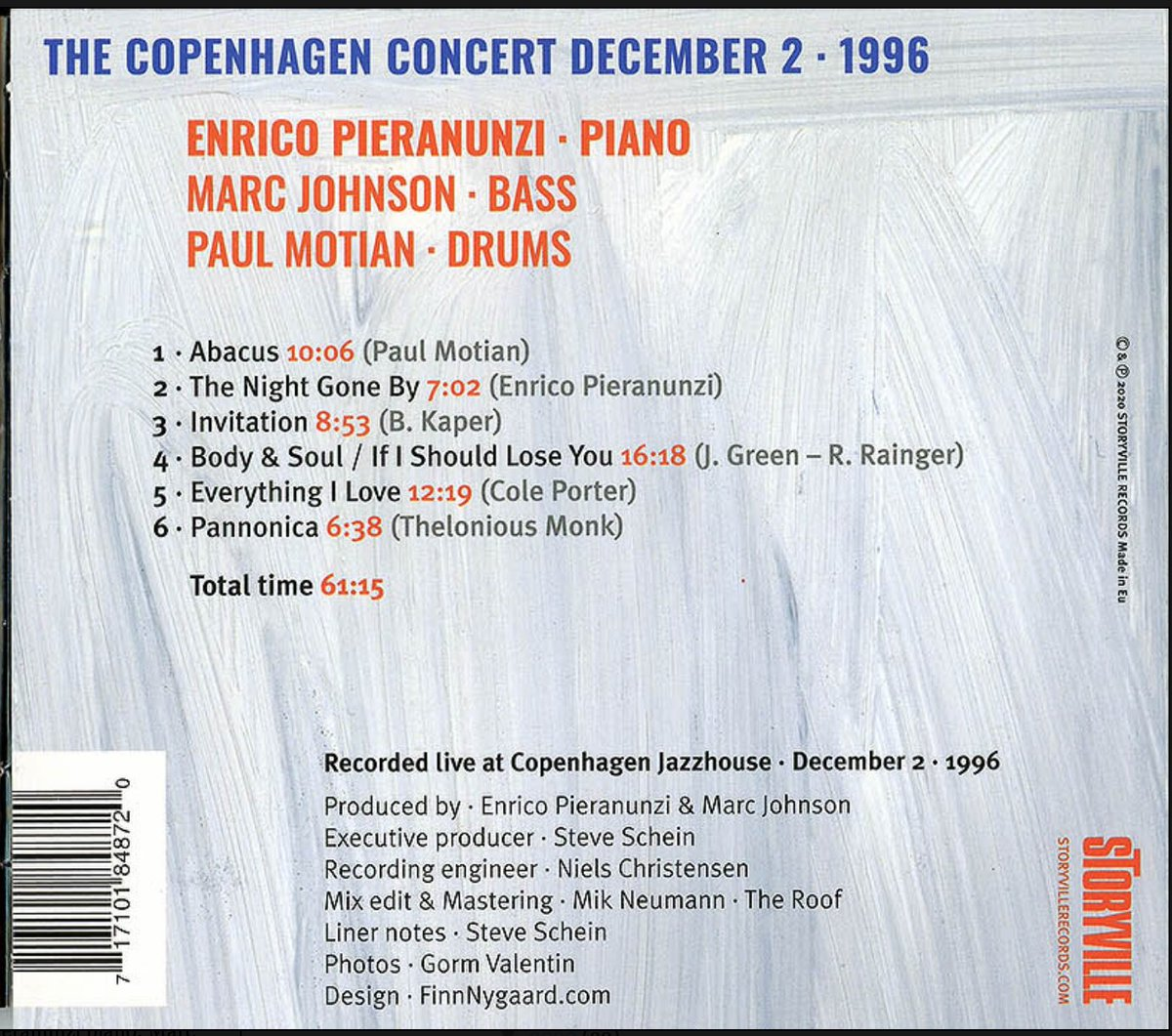 """Ted Gioia on Twitter: """"Today's new music recommendation: The Copenhagen  Concert, a new album released on Friday, featuring pianist Enrico Pieranunzi  with Paul Motian and Marc Johnson in a 1996 live recording."""