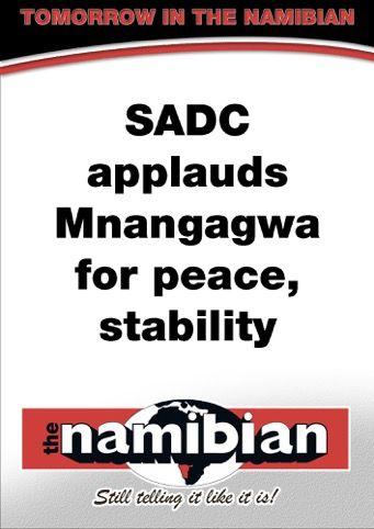 SADC applauds Mnangagwa for peace, stability
