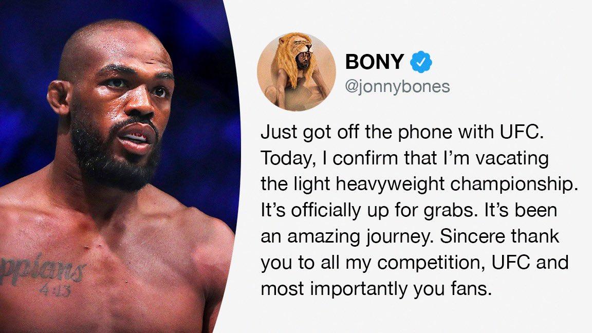 Jon Jones has relinquished his UFC light heavyweight title 🏆  (via @JonnyBones) https://t.co/V6HH1C0ENZ