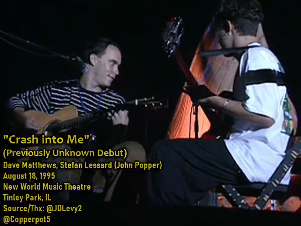 """#FlashbackFriday - August 18, 1995 - """"Crash Into Me"""" [First Time Played/Unfinished] -  Dave Matthews, Stefan Lessard, & John Popper.  The earliest incarnation of """"Crash Into Me"""" played on a side stage at HORDE fest. This video surfaced in 2019 / Performance was unknown prior to."""