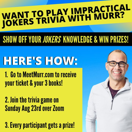 Join me for IMPRACTICAL JOKERS TRIVIA NIGHT this Sunday. EVERYONE gets 3 autographed copies of our new thriller DON'T MOVE & autographed swag, not to mention the chance 2 win show tix, meet & greet passes & more! Go to https://t.co/o66ZYMmQNC 2 get tix now! @blackstonepub https://t.co/6HrQFiLIzy