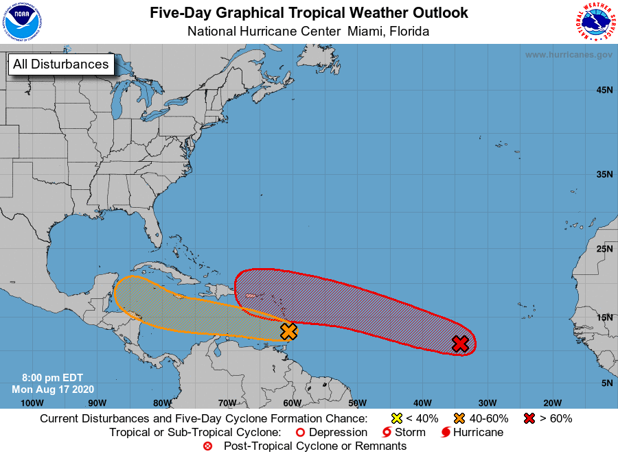 8/17 8p EDT: NHC is monitoring a pair of systems.  The western one could become a tropical depression over the W Caribbean during the latter part of the week.  The eastern system is likely to turn into a tropical depression within a couple of days.  More: https://t.co/tW4KeFW0gB https://t.co/X569SWTwfh
