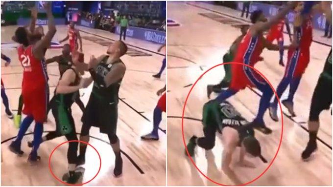 【影片】希望無大礙!Hayward搶籃板落地踩到隊友腳,90度彎折受傷離場!