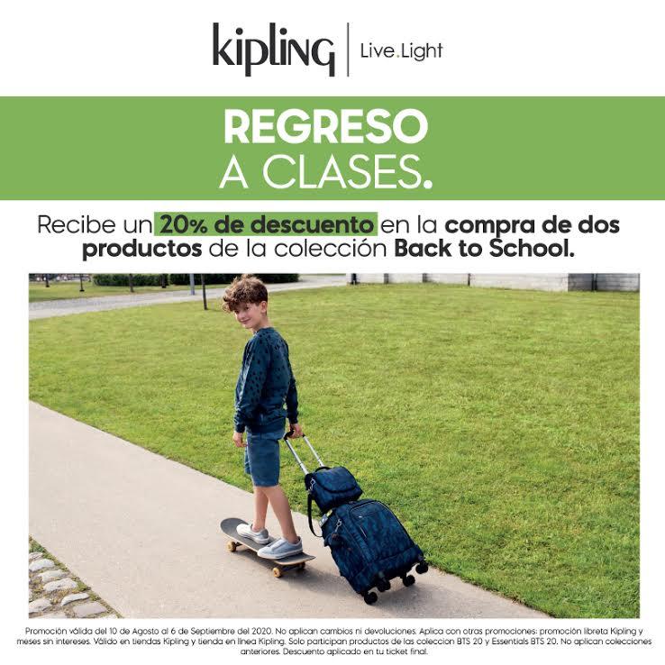 ¡En este regreso a clases consigue -20% de descuento en la compra de 2 productos en @kiplingmexico! #Kipling LiveLight  Promoción válida del 10 de agosto al 6 de septiembre de 2020. https://t.co/4PxoR9BXmR