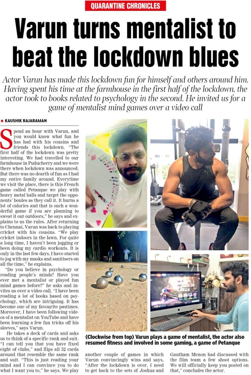 """Enchanting actor @iamactorvarun turns mentalist by """"learning to play mind games & reading psychology-related books"""" to beat the lockdown blues, While his Visual treat in @menongautham Direction #NaanUnJoshua reaches 1.5M+ Views https://t.co/sZYCpsM5XO   article source : @dt_next https://t.co/ote9hk57xc"""