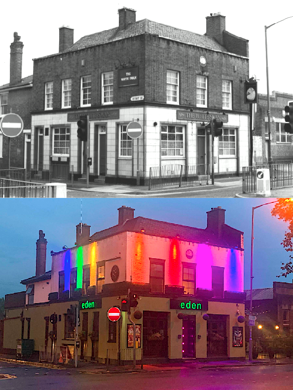 WOW! WHAT A DIFFERENCE A FEW DECADES MAKE! 🏳️‍🌈 Award-winning LGBT venue @edenbirmingham as it is now and when it was The White Swan many years ago! They certainly have fabulously transformed the venue into one of the must-visit venues on the Brum gay scene 👍🏽❤️