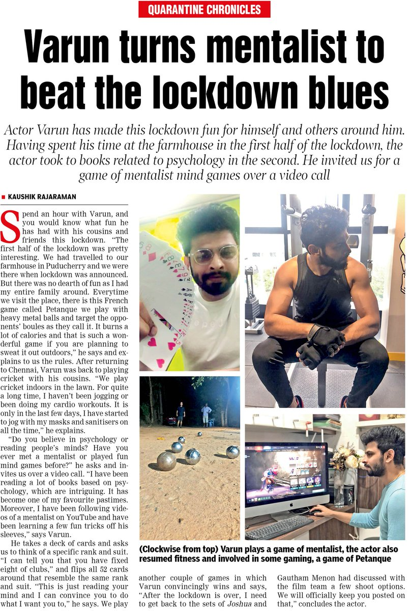 That was one amazing call with @iamactorvarun for #QuarantineChronicles in today's #DTNext. Will take those mind games lessons from ya soon bro 😄  @VelsFilmIntl https://t.co/O63gCr3Dp1