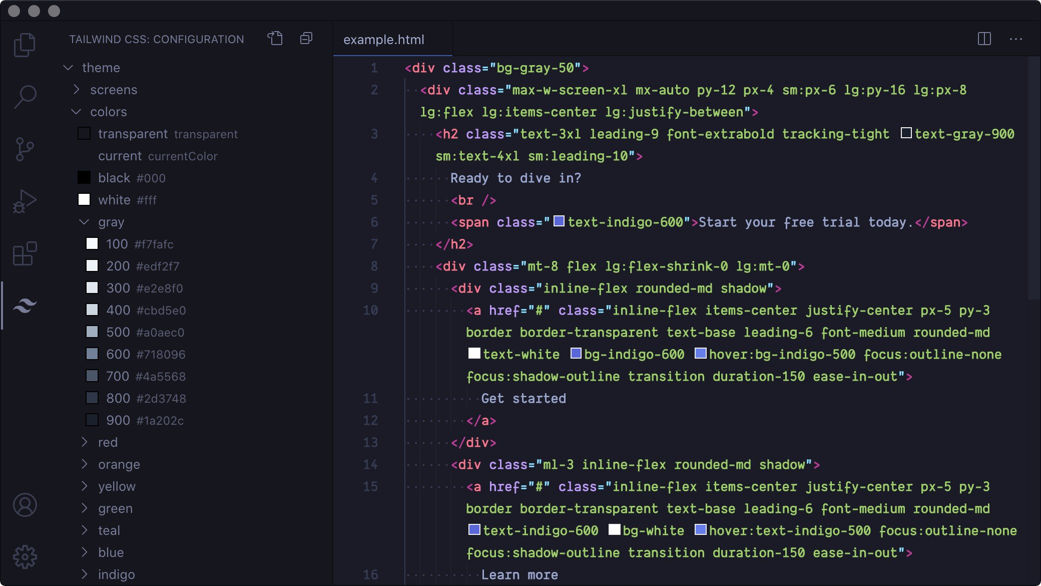 Screen capture showing a VS Code window. Tailwind CSS classes which apply colors have color blocks next to them. There is a panel on the left of the screen which displays your Tailwind config in a tree view.