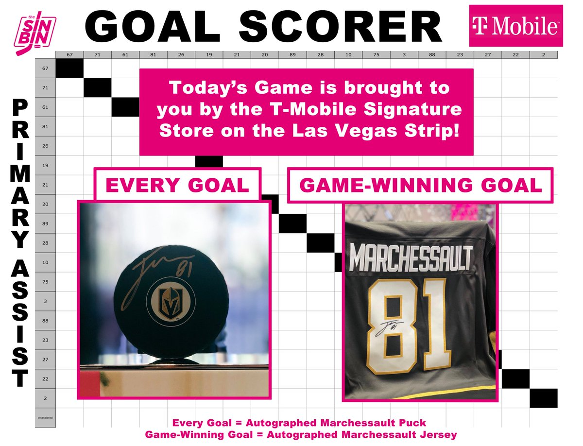 #HockeySquares is ON! RT now to enter.  Every single goal wins a Marchessault signed puck. If VGK win, the game-winning goal square also wins a signed jersey!!!  Must be following @TMOVegasStrip to enter. 324 random RTs will be selected.  RTs end at 7:00 PM (8/18/20) Good luck! https://t.co/Np9K7JgxzB