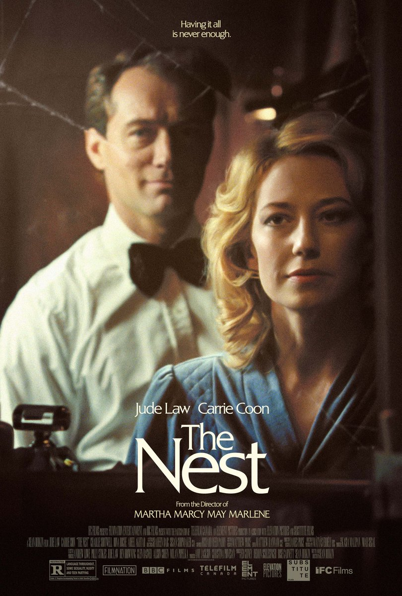 Check out the first poster for Sean Durkin's masterful must-see, THE NEST  Starting Jude Law and @carriecoon, heading to US cinemas on 18 September via @IFCFilms   Proudly backed by #BBCFilms https://t.co/BmbOSUqg50