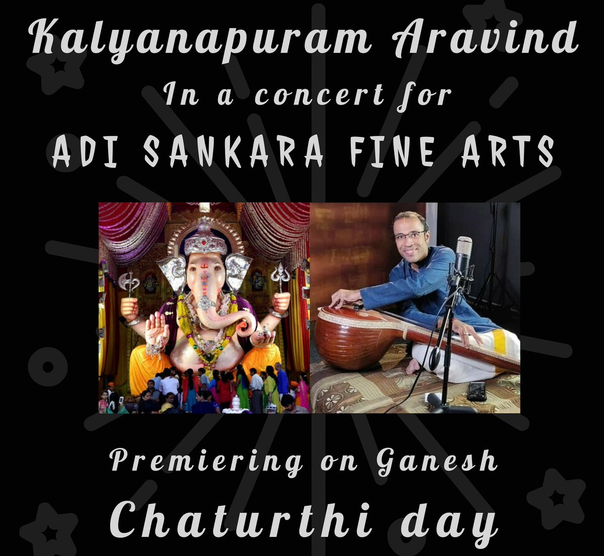Will be performing a Ganesha Chaturthi Special Thematic Concert on the 22nd August, Ganesha Chaturthi Day for Adi Sankara Fine Arts, California, USA. Concert will be premiered on my Facebook page - https://t.co/9V9NbffOOt https://t.co/EoQYhahKZU