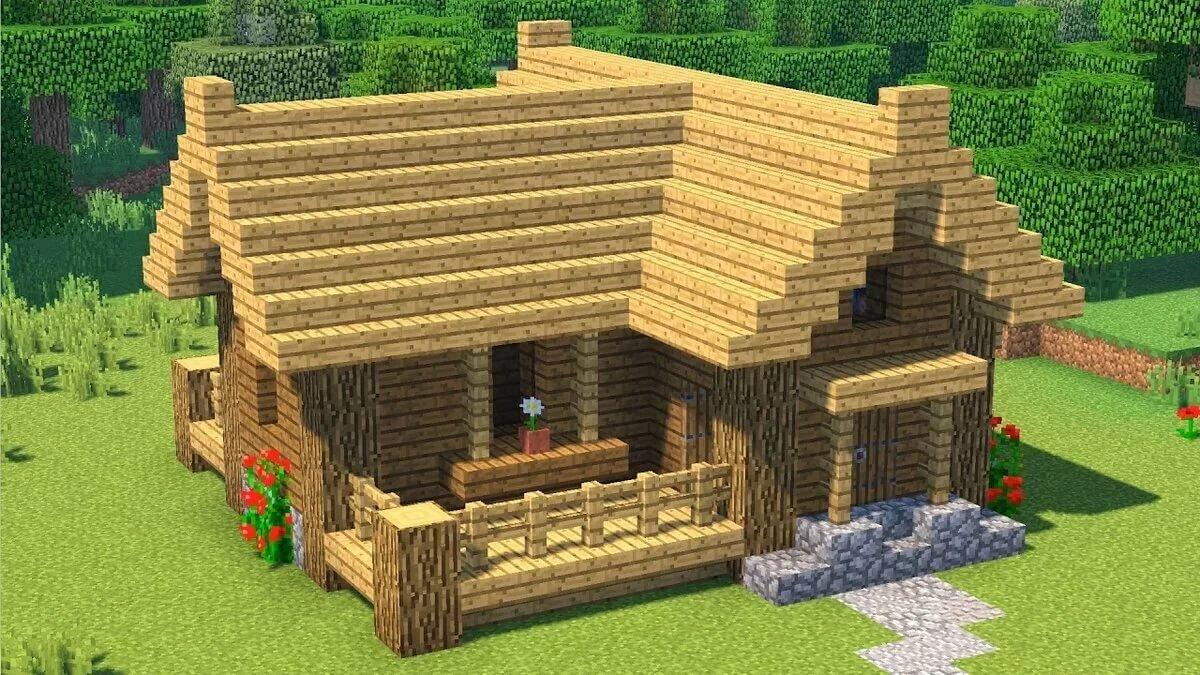 смотреть как сделать в майнкрафте маленький домик из дерева #6