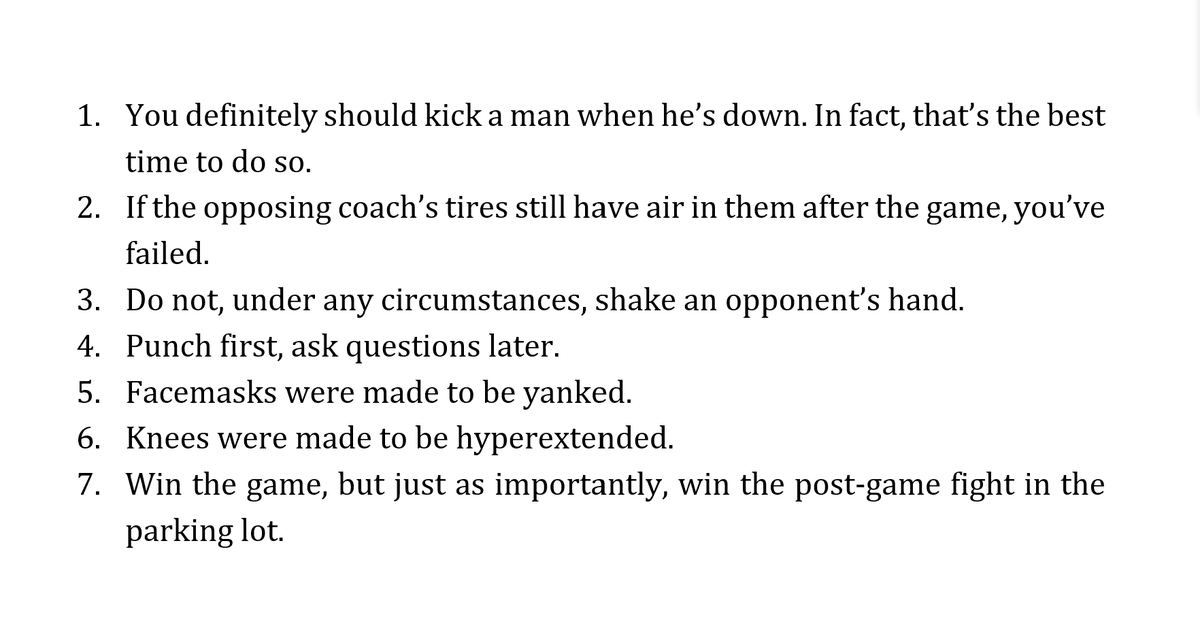 The Seven 'Unwritten Rules' for my youth football team. This is how it's done, @MLB @Rangers