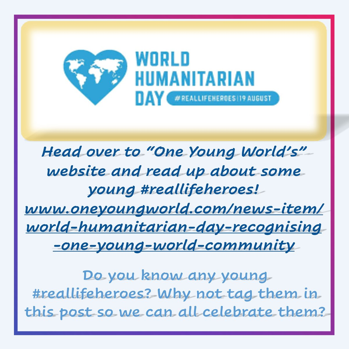 It's World Humanitarian Day!!!!   This year's theme is #reallifehero  Tag a young #reallifehero so we can all celebrate them!    #sharehumanity #theworldneedsmore #whd #whd2020 #WorldHumanitarianDay #apartbuttogether #sthelenstogether
