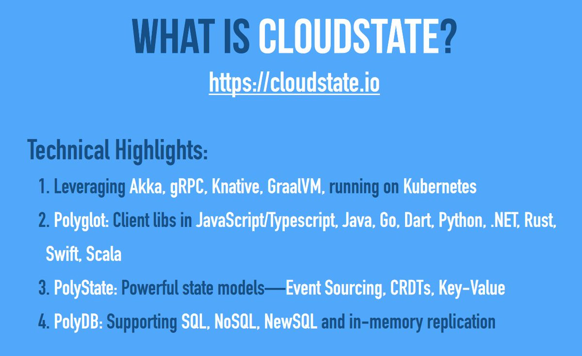 Let's go for 2nd day of #KubeCon + #CloudNativeCon EU 2020, starting with @jbone from @lightbend talking about @CloudState (cloudstate.io) and how to handle State in a Serverless world ✨ Let's think about models, abstractions and how we interact with data storage!