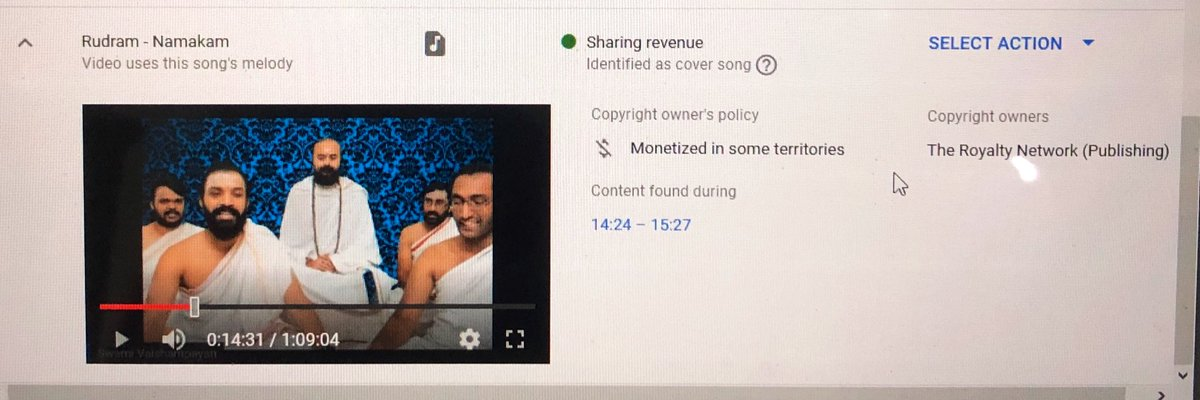 Thread : Did a live chanting of Ganesh Atharvashirsha on my YouTube channel yesterday. To my utter surprise just got to know that Tseries and Royalty Network an American company has copyrighted Ganesh Atharvashirsha! From Yoga Asanas to turmeric to Basmati rice and now this. 1/3