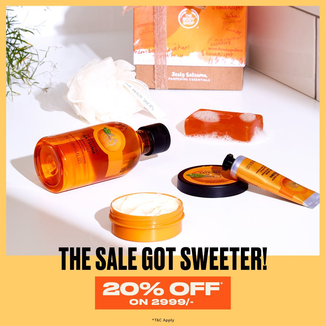 The seriously sweet sale just got sweeter, peeps. When you shop for 2999/- & above, you get a 20%* discount! Shop in-store, online or get them delivered at home by ringing us at +917042004412. So, what are you adding to cart?  #TheBodyShopIndia #TBSInd #Discount #Sale