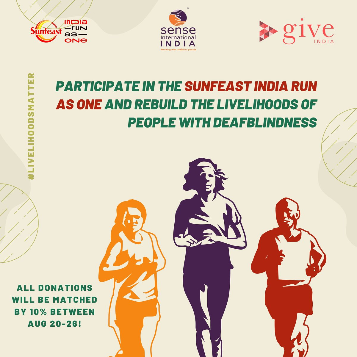 Register for the Sunfeast India Run as One and rebuild the livelihoods of people with deafblindness.  Register today!   #senseindia #deafblindness #sunfeastindiarunasone #giveindia #run #donate #livelihoodsmatter #MoveforGood