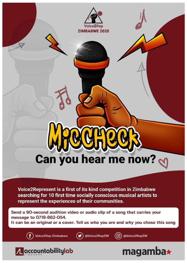 With everything happening in Zimbabwe lately, here is an opportunity for musicians to speak about their realities and aspirations for the nation 🇿🇼 @Voice2RepZW is looking for 10 socially conscious and engaged artists to represent the experiences of their communities #MicCheckZim