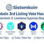 Image for the Tweet beginning: 🇬🇧 Sistemkoin 3rd Listing Vote