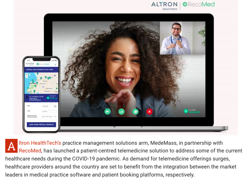 We're proud to our announce partnership with Altron HealthTech (owner of Medemass) to bring an integrated, RecoMed powered telehealth solution to thousands of healthcare professionals across South Africa.  #Telemedicine #HealthTech #COVID19   @sheraan   https://t.co/3C3LZ95kKP https://t.co/ICAD511BWb