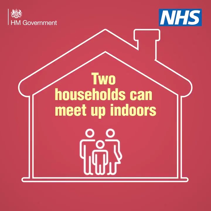 Two separate households can meet up indoors in England but they must remain socially distanced.