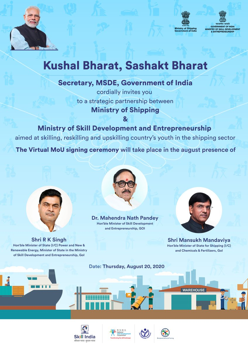 Today, MSDE and @shipmin_india are entering into a strategic partnership that's aimed at skilling, reskilling and upskilling the country's youth in the shipping sector. The virtual MoU will be signed in the presence of @DrMNPandeyMP @RajKSinghIndia & @mansukhmandviya. https://t.co/0ZTSmkHoYX