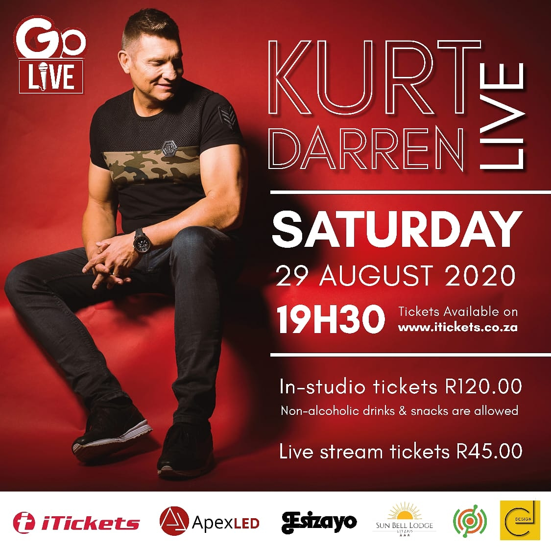 Go L🎤VE  Kurt Darren LIVE  Sat 29 Aug @ 19h30 Book:⬇ 💥 https://t.co/2rR0kOuvT0  🎼 * In-Studio Tickets - R120:00  Non-alcoholic drinks & snacks allowed * Live Stream Tickets - R45:00 @kurtdarren9 @iTicketsSA @apexLED @Esizayo @1Sunbelllodge @SelectMusiek @SonyMusicAfrica https://t.co/kAkquDqvDj