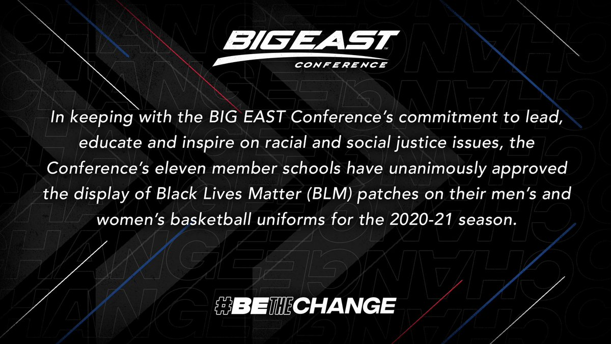 The #BIGEAST continues our Anti-Racism efforts with a series of actions to #BETheChange. In the 2020-21 season, mens and womens 🏀 teams will wear a Black Lives Matter patch on uniforms. We also officially support the efforts of @coaches4action. 📝: bigeast.com/news/2020/8/19…