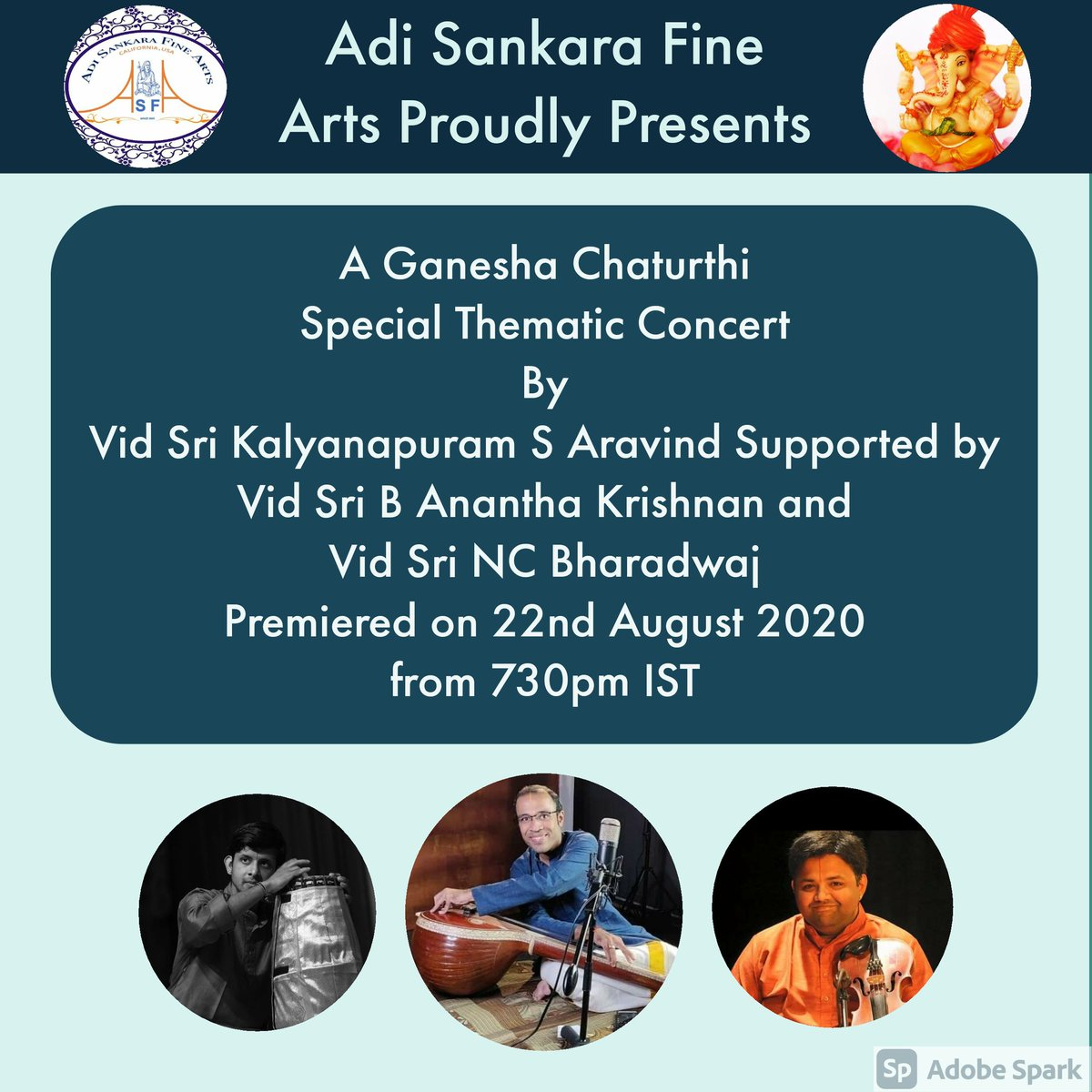 Excited to be sharing the stage with these amazing musicians for a special Ganesh Chaturthi Thematic concert https://t.co/kyJZEPePd7