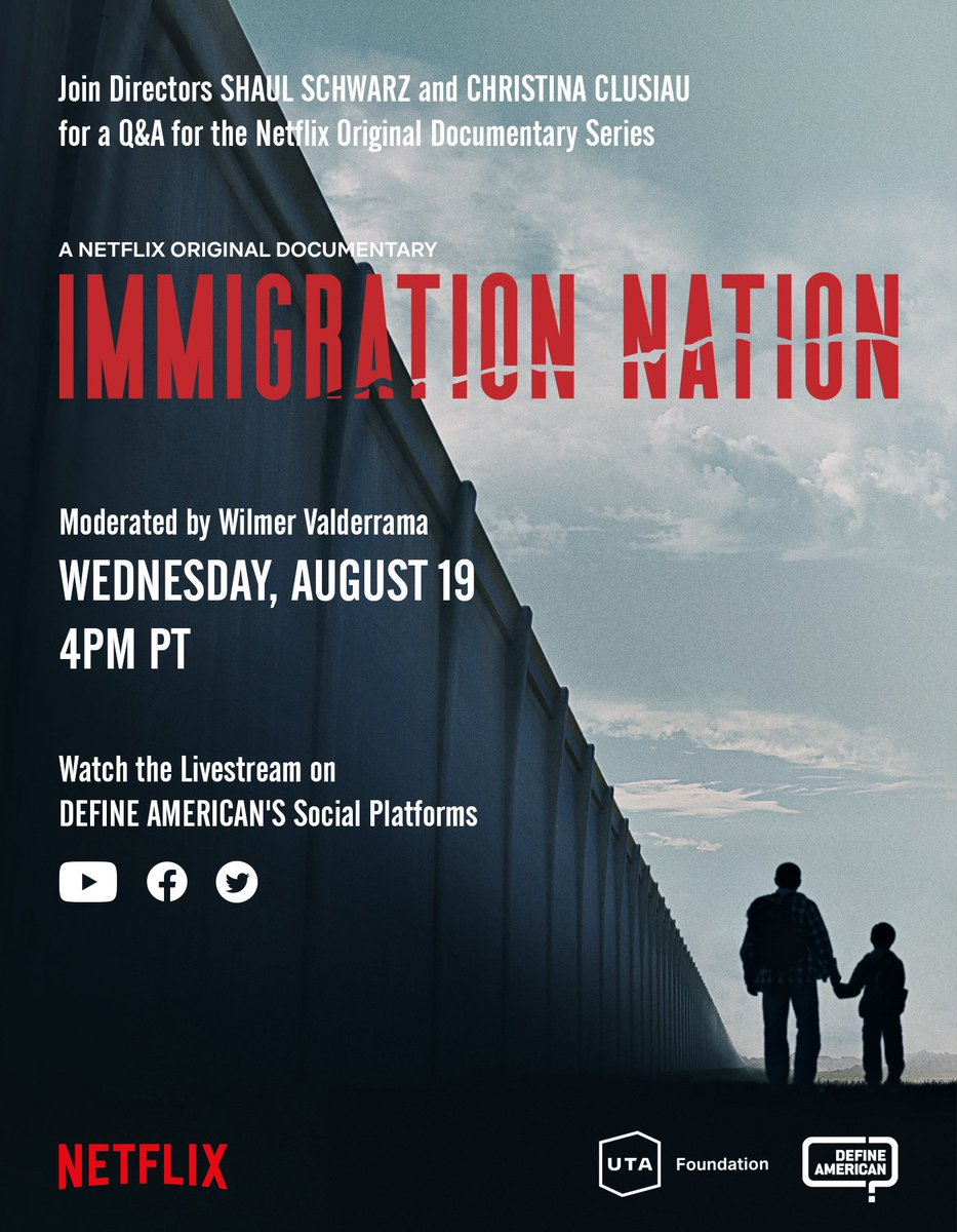 Everybody is talking about #ImmigrationNation + it's time to unpack it! In collaboration with @defineamerican, @netflix + @UTAFoundation , join Shaul Schwarz, + @cclusiau, + @joseiswriting & me as we discuss the film's impact TODAY, at 4 PM PT/7 PM ET. Tune in LIVE - info below https://t.co/RF9Fd8ucpS