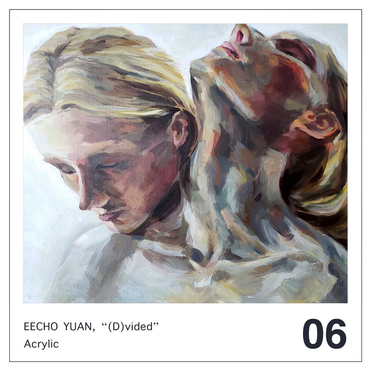 """""""Eyes closed. Two heads. One body.""""  06: Eecho Yuan (Age 14), Sherry Art Studio (D)vided, acrylic   #studentartist #localart #localmuseum #sandiego #acrylicpainting https://t.co/hP6tplAAhY"""