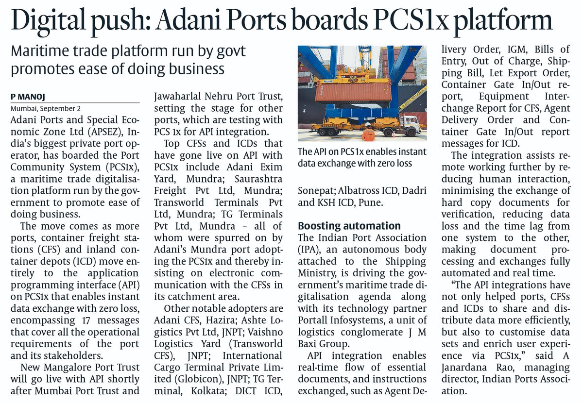 India is working to create world's best single window system 'PCS1x' for Maritime Logistics.  27 stakeholders are already on board of Port Community System(PCs1x).  Our indigenous digital solution will promote #EaseofDoingBusiness in maritime trade. https://t.co/wq7z3CGlok