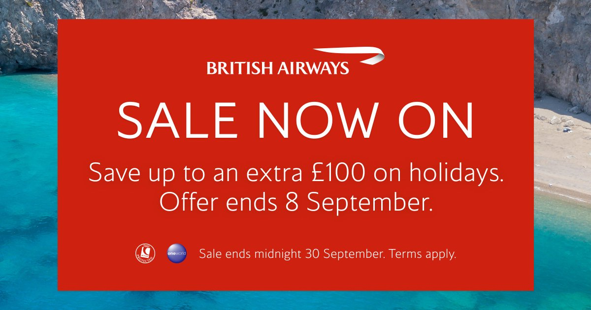 Our sale continues. Customers can save up to an additional £100 on holidays booked between 3-8 September 2020. UK customers only. T&Cs apply. For more info visit https://t.co/1MzKkJmVeY https://t.co/3rWQdVxn2L