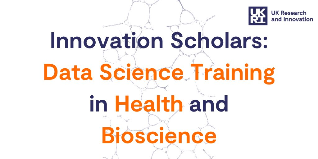 The @UKRI_News Innovation Scholars Data Science Training in Health & Bioscience scheme is open to EOIs. Funding is available to deliver data science training that upskills health and bioscience researchers.  Deadline 30 Sept: https://t.co/nUi5jaSqgY https://t.co/ByTaPRB1Eg