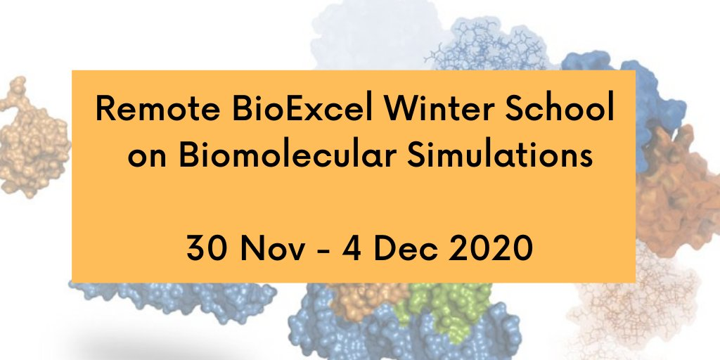 Due to popular demand, we are bringing back a winter edition of the Remote BioExcel School on Biomolecular Simulations! Train with our flagship tools such as #GROMACS, HADDOCK, BioBB and PMX.  Applications close 18 October.  🔗 https://t.co/pGeAllza8k https://t.co/xYEr4Ae5Jx