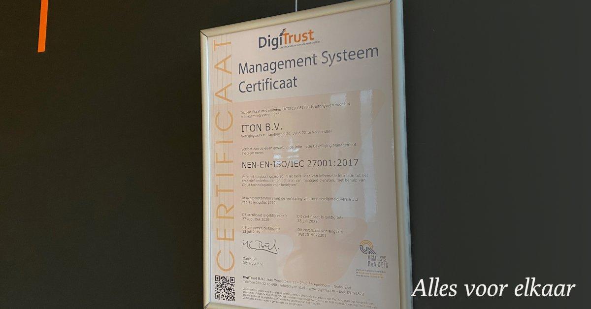 Onlangs hebben we met succes de controle audit voor ISO27001:2017 doorstaan. Het nieuwe certificaat hangt inmiddels aan de muur in ons kantoor.  #digitrust #certificaat #iso27001 https://t.co/eCSejXnT5w