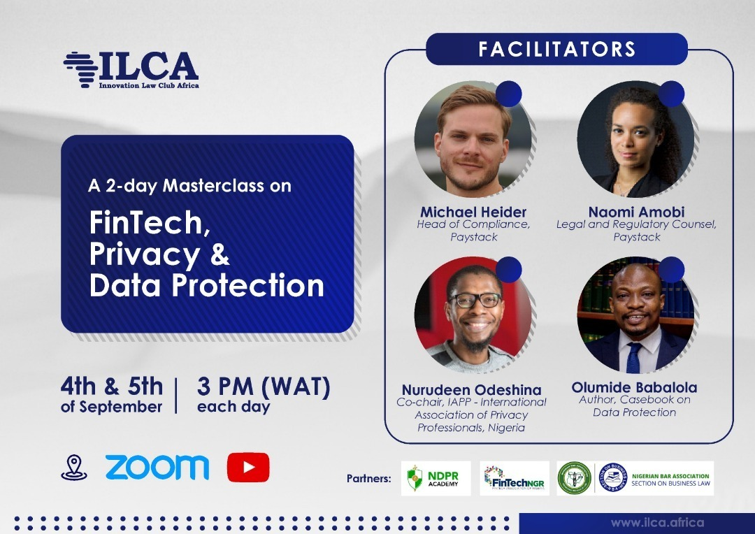 🚀 Hi team, come learn about critical matters in data protection and privacy in a free 2-day masterclass hosted by @ilca_africa. The facilitators include our Legal & Regulatory Counsel, Naomi Amobi, and our Head of Compliance, Michael Heider  RSVP here 👇🏾 https://t.co/v9Zrj32hOq https://t.co/npqHaelx1N