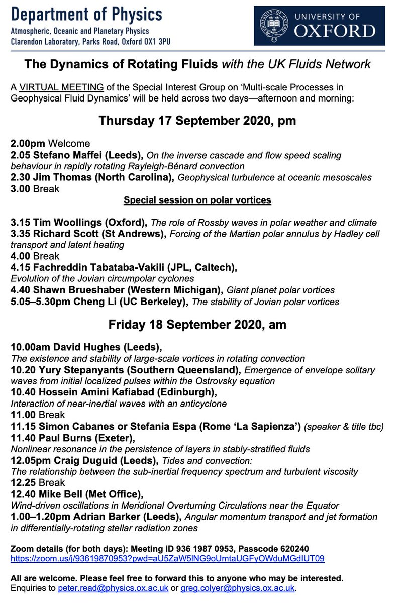 The Oxford edition of the 'Dynamics of Rotating Fluids' meeting series will be happening online this year on 17th-18th September. The talks are usually of a very high quality, so please do come along if you're interested (especially if you're not UK based so can't usually come)! https://t.co/VRPZZnJ4gI