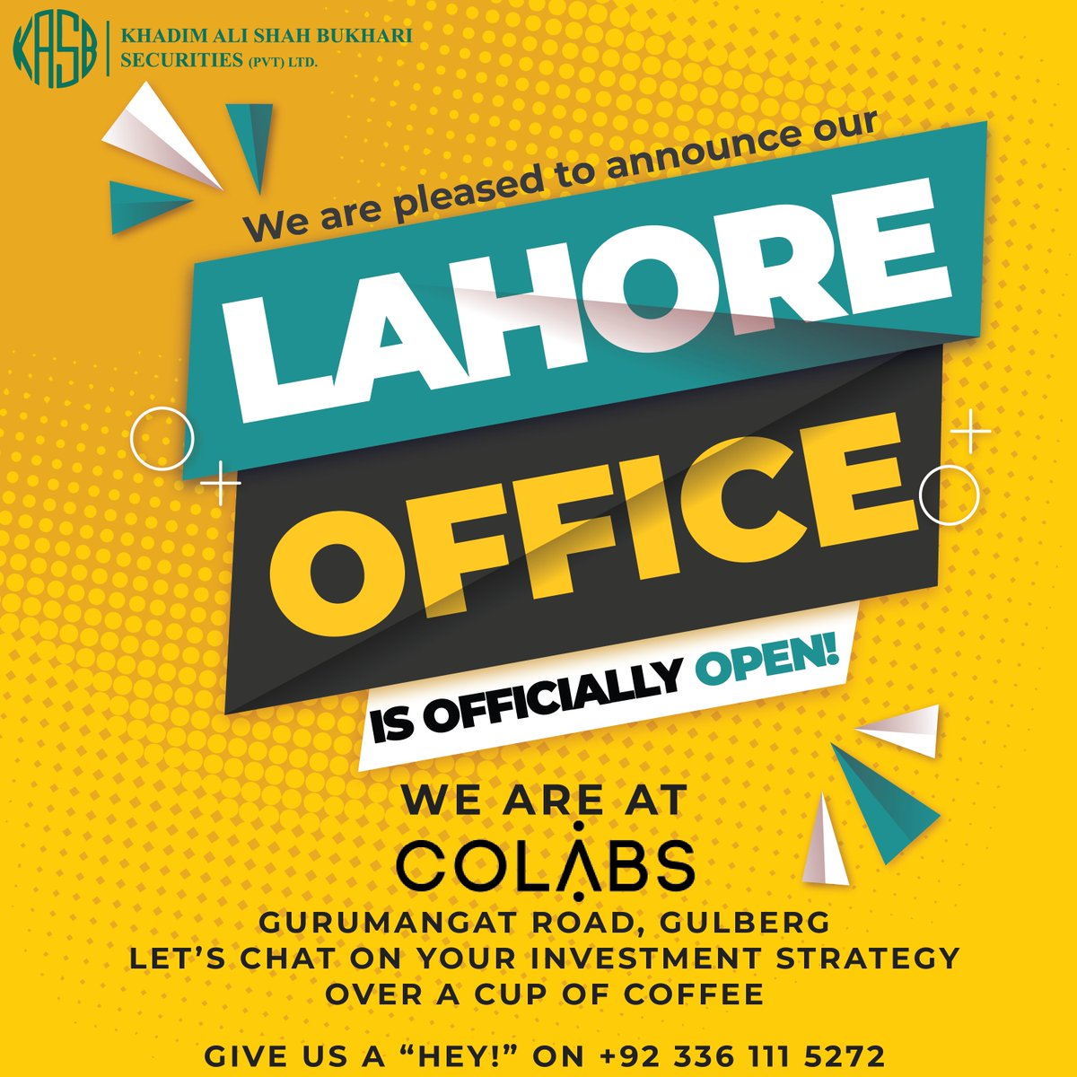 We are now in Lahore to be at your service. We are located at COLABS -Gurumangat Road, Gulberg. #kasb #smartinvesting #Stayhome #Staysafe #PSX #KTrade https://t.co/Nl8wQrSqYR