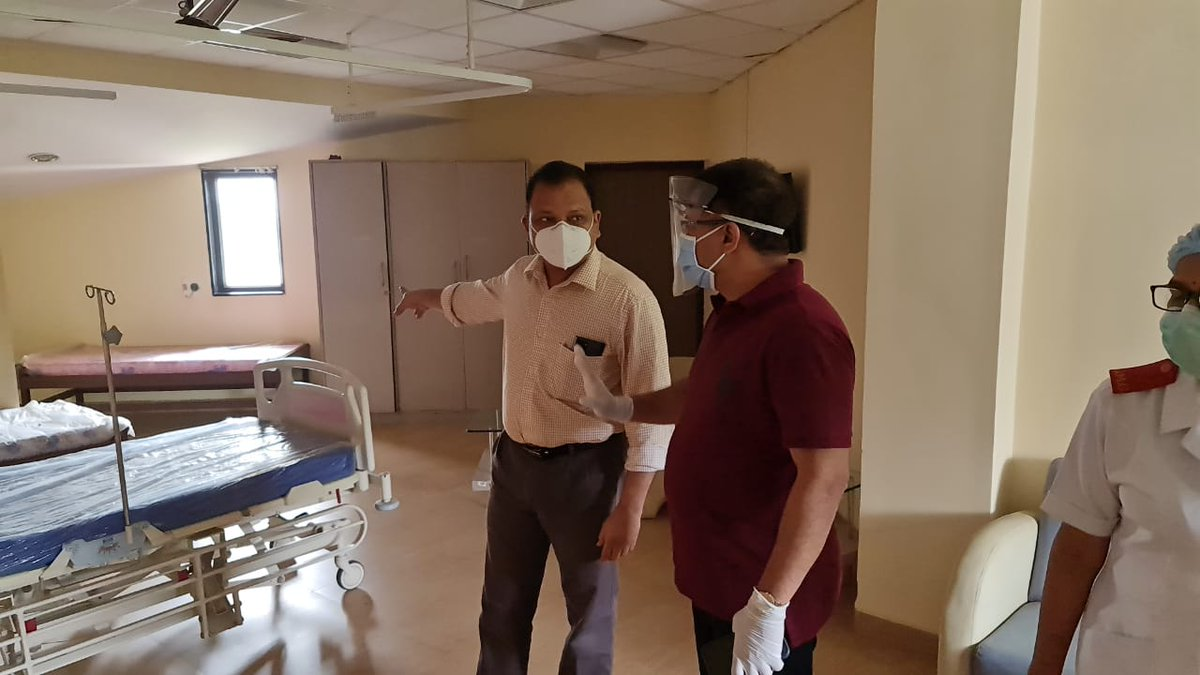 Hon Health Minister Shri @visrane inspected Ward 122 which will be converted into a dedicated COVID ward. Under the guidance of Hon'ble HM, we ensuring optimal utilization of available resources & thereby providing appropriate care to all COVID-19 patients.  #GoaFightsCOVID19 https://t.co/4emuM1g8mx