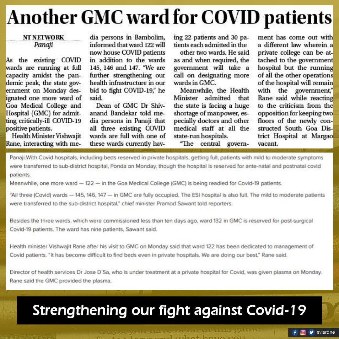 With an additional COVID-19 ward at @GoaGmc, we shall further reinforce our fight against this virus with necessary measures in place.  It is my humble appeal to the people of the state of Goa to take utmost precautions and follow health protocols at all times. https://t.co/nQviqjOe5D
