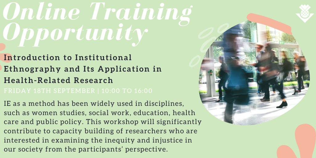 📢 New training opportunity alert! This workshop led by @vikashbsw will provide an overview of institutional ethnography, an approach to text analysis and mapping organisational or institutional processes. More information is available here 👉https://t.co/1R7ov4EVcg #phdchat #PhD https://t.co/eztigka0fB